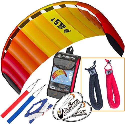 HQ Symphony Beach III 22 Kite Mango Bundle 3 Items  Peter Lynn Heavy Duty Padded Kite Control Strap Handles Pair  WindBone Kiteboarding Lifestyle Stickers