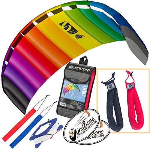HQ Symphony Beach III 22 Kite Rainbow Bundle 3 Items  Peter Lynn Heavy Duty Padded Kite Control Strap Handles Pair  WindBone Kiteboarding Lifestyle Stickers