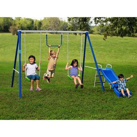 Flexible Flyer Fun-Time-Fun Metal Swing Set Included 2 swings Trapeze Swing Wave slide Assembly Manual