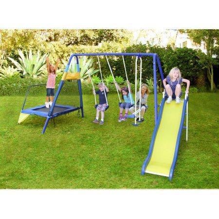 Sportspower Almansor Metal Swing Slide and Trampoline Set
