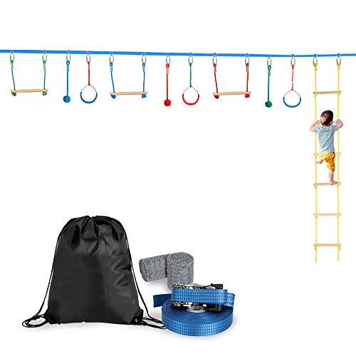 SSLine 59ft Slackline Ninja Obstacle Course Kit for Kids Outdoor Backyard Nanja Line Warrior Training Equipment Swing Hanging Monkey Bar Set with Climbing Ladder - 250lbs Weight Capacity