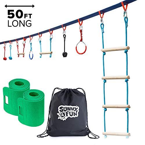 Sunny Fun Portable 50 Foot Ninja Slackline Monkey Bar Ladder Kit - Kids Gym Swinging Obstacle Course Set - Warrior Training Bars Fists Gymnastics Rings - Carry Bag Tree Protectors