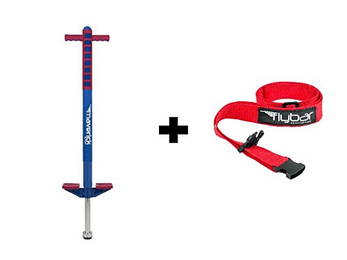 Flybar Foam Maverick Pogo Stick With Quick Clip Pogo Carry Strap BlueRed - Red Strap