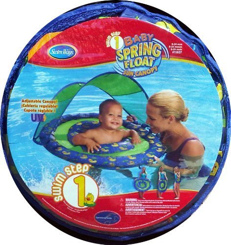 Swimways Baby Spring Float with Sun Canopy for Babies in Pool Blue Green with Yellow Duckies by Spring Float
