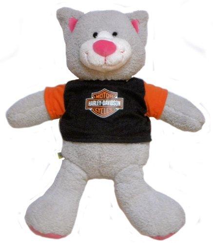 Plush Grey Teddy Bear with Harley Davidson Shirt - 19 Long