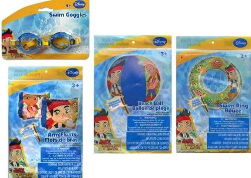 Jake the Pirate 20 Beach Ball  Swim Ring  Arm Floats and Swim Goggles 4pc Set
