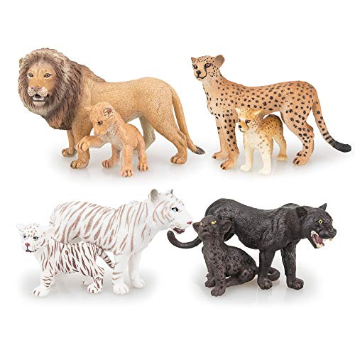 TOYMANY 8PCS 2-5 Plastic Safari Animals Figure Playset Includes Baby Animals Realistic LionTigerCheetahBlack Panther Figurines with Cub Cake Toppers Christmas Birthday Toy Gift for Kids Toddlers