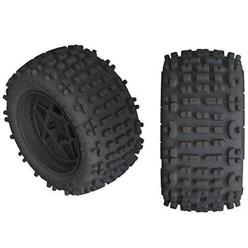ARRMA Backflip Lp 4S 38 Rc Truck Tires with Foam Inserts Mounted On Multi-Spoke Black Wheels Set of 2 AR550050