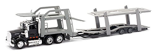 Kenworth W900 Black with twin Auto Carrier 143 by New Ray 15213F