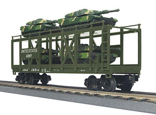 MTH Auto Carrier Flat Car w4 Mini Battle Tanks US Army
