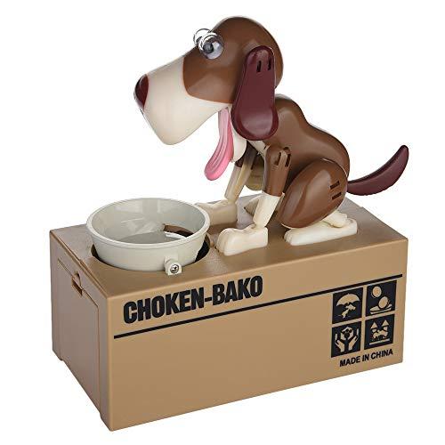 JAWM My Dog Piggy Bank Robotic Coin Munching Toy Money Box Saving Money Coin Bank Dark Brown Dog