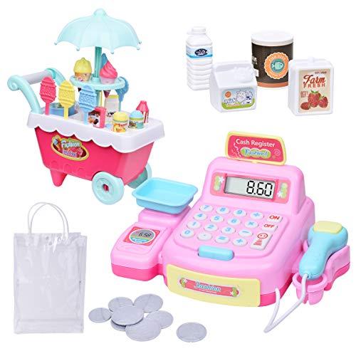 MDGZY Play Electronic Toy Cash RegisterIce Cream ToyPretend PlayToddler MoneyKids stem ToysPretend Food Truck ToyIce Cream cartPlay Set for Toddler Toys