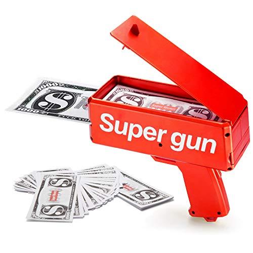 Sopu Make it Rain Money Gun Paper Playing Spary Money Toy Gun Prop Money Gun with 100 Pcs Play Money Cash Gun Party Supplies Money Gun
