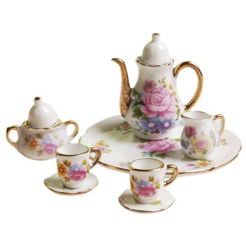 8pcs Dining Ware Porcelain Tea Set Dish Cup Plate 16 Dollhouse Miniature -Pink Rose