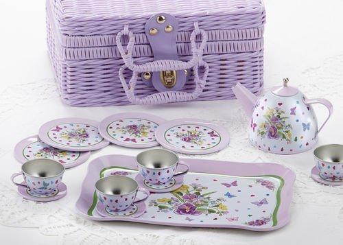 Delton Childrens Tin Tea Set in Basket 15 Pcs Pansy