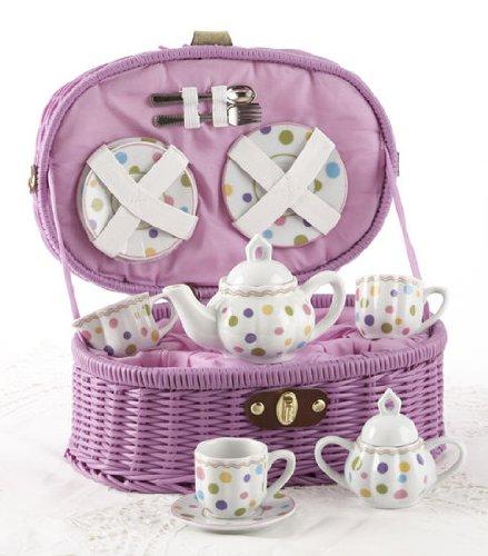 Delton Products Gumdrops Dollies Tea Set in Basket Large