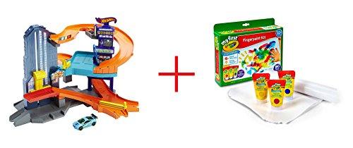 Hot Wheels Speedtropolis Playset and My First Crayola Finger Paint Kit - Bundle
