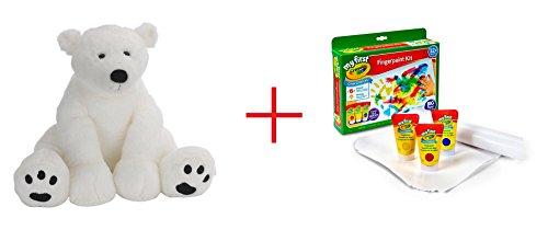 Toys R Us Plush 155 inch Polar Bear - White and My First Crayola Finger Paint Kit - Bundle