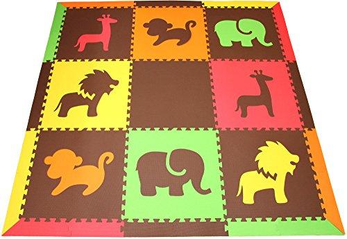 SoftTiles Safari Animals Premium Interlocking Foam Large Childrens Play Mat Red Yellow Orange Lime Brown 78 x 78 ROYLB