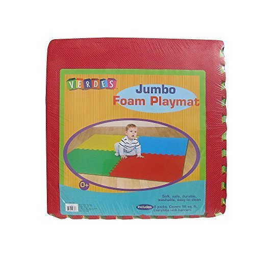Jumbo Foam Red Green Blue Yellow Toy 16 Sq Ft Playmat Set of 4 Squares by Verdes
