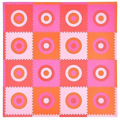 Tadpoles 16 Piece Squared Playmat Set PinkOrange by Tadpoles
