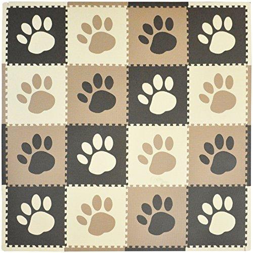 Tadpoles 16 Sq Ft Pawprint Playmat Set Brown by Tadpoles