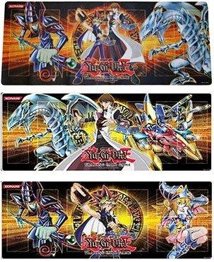 YuGiOh Gold 4 - 3 playmat set  Blue Eyes White Dragon Kaiba XYZ Dragon Cannon  Yugi Kaiba Dark Magician  Yugi Dark Magician Girl