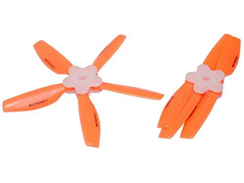 Microheli Plastic Folding 5-Blade Propeller 4045 CWCCW wBracket ORANGE