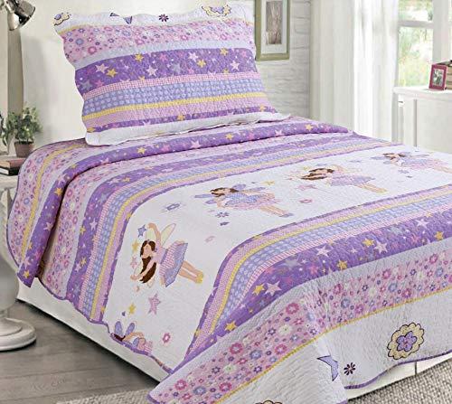Sapphire Home 2pc Twin Size Bedspread Quilt Set Bedding for Kids Teens Girls Stars Ballerina Doll Purple Lavender Coverlet Twin Bedspread  Pillow Sham Twin CJ23 Ballerina Lavender