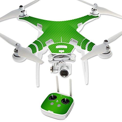 MightySkins Protective Vinyl Skin Decal for DJI Phantom 3 Professional Quadcopter Drone wrap cover sticker skins Lime Carbon Fiber