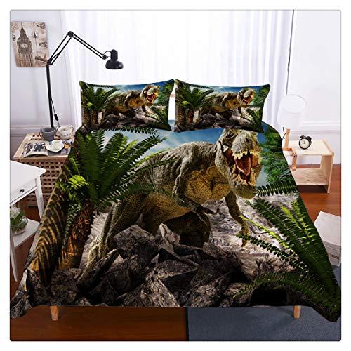 3D Tyrannosaurus Rex Dinosaur Bedding Set for Teen Boys Duvet Cover Set3 pcs 1 Duvet Cover 1 Pillowcasesno Comforter Inside Queen Size