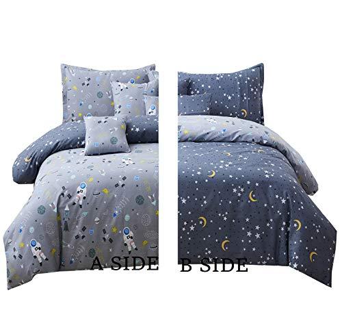 Brandream Bedding Gray Astronaut Queen Bedding Sets Cotton Reversible Space Kids Duvet Cover Sets 3 Pieces for Boys Zipper Closure