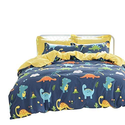 Brandream Kids Bedding Sets Full Size Dinosaurs Boys Duvet Cover Set 100 Cotton Reversible 3-Piece Zipper ClosureComforter Not Included
