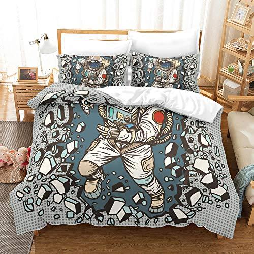Comfortable home Space Astronaut Bedding Sets Full 100 Microfiber Cartoon 3D Printed Boys Duvet Cover SetsCosmonaut bedcover Quilt 1 Duvet Cover 2 PillowcaseNo ComforterQuilt Twin66x90