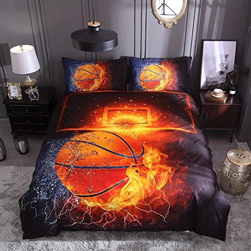 Lldaily 3D Sports Basketball Bedding Set for Teen BoysDuvet Cover Sets with PillowcasesQueen Size3PCS1 Duvet Cover2 Pillow ShamsComforter not Included