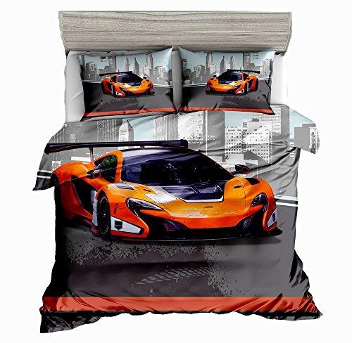 SxinHome Orange Speed Sport car Bedding Set for Teen Boys Duvet Cover Set3pcs 1 Duvet Cover 2 Pillowcasesno Comforter Inside Twin Size