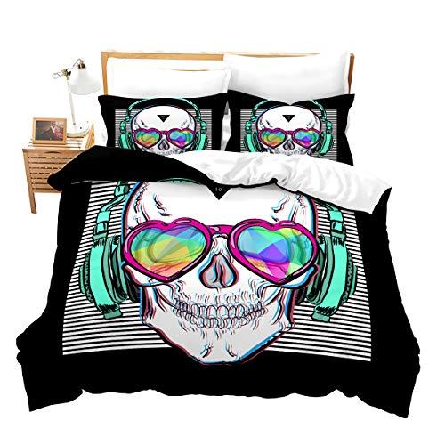 feelyou Boys Duvet Cover Set Queen Size Music Skull Comforter Cover Skeleton Bones Print Bedding Set Halloween Punk Rocker Headphones Skull Quilt Cover with 2 Pillow Shams Microfiber Black Green
