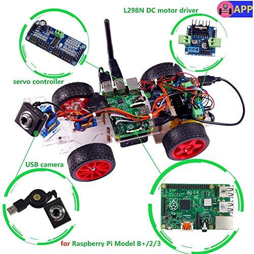 SunFounder Model Car kit Video Camera for Raspberry Pi 32BB RC Servo Motor Remote Control Robotics Electronic Toys Game Kids App Detail ManualNot Included Raspberry Pi