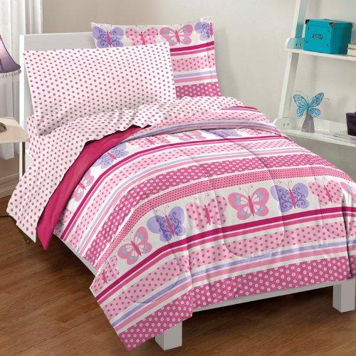 Dream Factory Butterfly Dots Ultra Soft Microfiber Girls Comforter Set Pink Full
