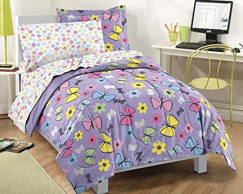 Dream Factory Sweet Butterfly Ultra Soft Microfiber Girls 7 Piece Comforter Set Purple Full