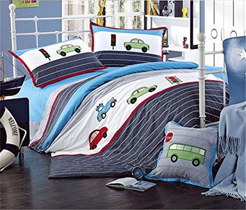 Auvoau Trucks Tractors Cars Boys 4-Piece Comforter Sheet SetKids Bedding SetBlue Red Twin Full Queen