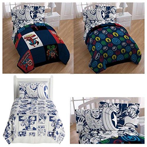 Marvel Comic Heroes 5 Piece Kids Full Bedding Set - Reversible Comforter Sheet Set with 2 Reversible Pillowcases