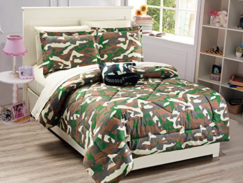 Mk Collection 8 PC Full Size Tank Army green Brown Beige Comforter And sheet set With Furry Buddy Included New Full Comforter set