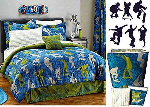 Skateboard 8pc Full Comforter Sheet Set  BONUS Wall Decals Bed in a Bag
