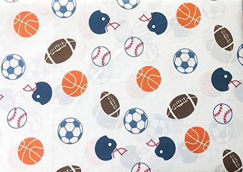 Max Studio Kids Sports Baseballs Footballs Soccer Balls on White 4 Piece Full Size Sheet Set