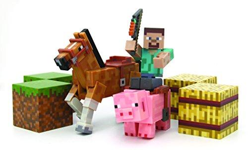 Minecraft Figure Set Overworld Saddle Pack Steve wwhip Chestnut Horse  Pig wsaddle  2 x hay bale  2 x grass blocks