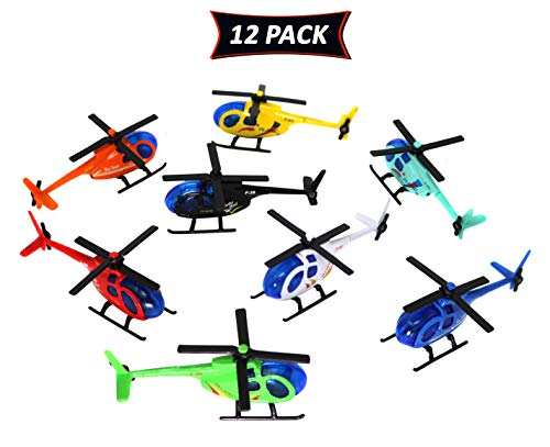 Smart Novelty Metal Die Cast Helicopters for Kids in Assorted Colors Pack of 12 Toy Helicopters