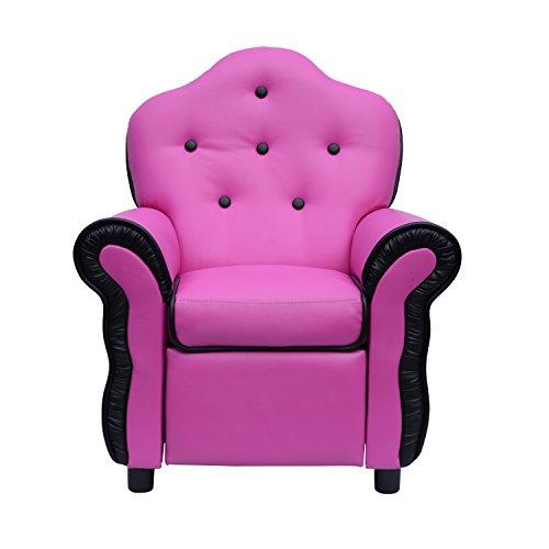 Unique Design Kids Faux Leather Comfortable Recliner Chair - Pink