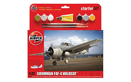Airfix A55214 Grumman F4F-4 Wildcat Plastic Model Medium Starter Gift Set 172 Scale