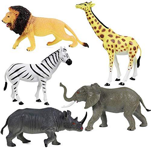 Click N Play Jumbo 105 Animal Figurine Playset Assorted 5Piece Realistically Designed Wild Zoo Safari Jungle Plastic Animals for Kids Toddlers